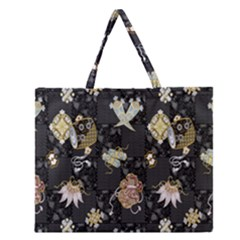 Traditional Music Drum Batik Zipper Large Tote Bag by Mariart