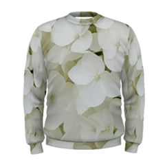 Hydrangea Flowers Blossom White Floral Photography Elegant Bridal Chic  Men s Sweatshirt by yoursparklingshop