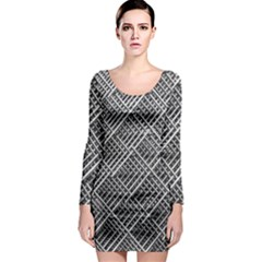 Pattern Metal Pipes Grid Long Sleeve Bodycon Dress