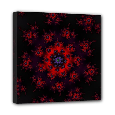 Fractal Abstract Blossom Bloom Red Mini Canvas 8  X 8
