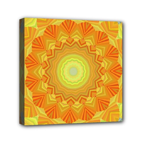 Sunshine Sunny Sun Abstract Yellow Mini Canvas 6  X 6