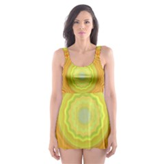 Sunshine Sunny Sun Abstract Yellow Skater Dress Swimsuit