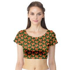 Background Wallpaper Flowers Green Short Sleeve Crop Top (tight Fit)