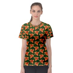 Background Wallpaper Flowers Green Women s Sport Mesh Tee
