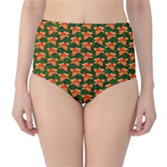 Background Wallpaper Flowers Green High Waist Bikini Bottoms