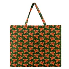 Background Wallpaper Flowers Green Zipper Large Tote Bag by Nexatart