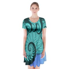 Fractals Texture Abstract Short Sleeve V Neck Flare Dress
