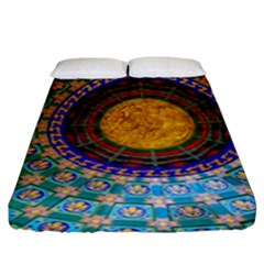 Temple Abstract Ceiling Chinese Fitted Sheet (king Size) by Nexatart