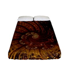 Copper Caramel Swirls Abstract Art Fitted Sheet (full/ Double Size)