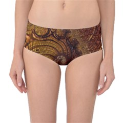 Copper Caramel Swirls Abstract Art Mid Waist Bikini Bottoms by Nexatart