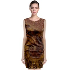 Copper Caramel Swirls Abstract Art Classic Sleeveless Midi Dress