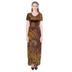 Copper Caramel Swirls Abstract Art Short Sleeve Maxi Dress