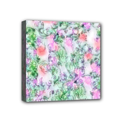 Softly Floral A Mini Canvas 4  X 4  by MoreColorsinLife