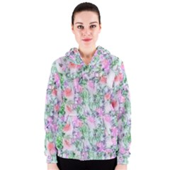 Softly Floral A Women s Zipper Hoodie by MoreColorsinLife