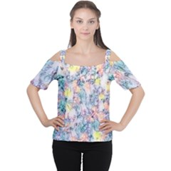 Softly Floral C Women s Cutout Shoulder Tee by MoreColorsinLife