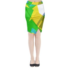 Green Yellow Shapes  Midi Wrap Pencil Skirt by LalyLauraFLM