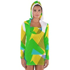 Green Yellow Shapes        Women s Long Sleeve Hooded T Shirt