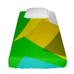 Green Yellow Shapes       Fitted Sheet (single Size) by LalyLauraFLM