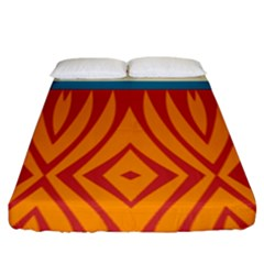 Shapes In Retro Colors      Fitted Sheet (king Size) by LalyLauraFLM