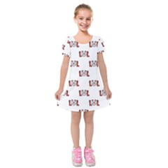 Funny Emoji Laughing Out Loud Pattern  Kids  Short Sleeve Velvet Dress by dflcprintsclothing