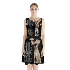 Chihuahua Sleeveless Chiffon Waist Tie Dress by Valentinaart