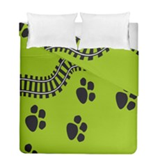 Green Prints Next To Track Duvet Cover Double Side (full/ Double Size)