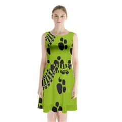 Green Prints Next To Track Sleeveless Chiffon Waist Tie Dress
