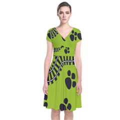 Green Prints Next To Track Short Sleeve Front Wrap Dress
