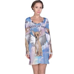 Angel Chihuahua Long Sleeve Nightdress by Valentinaart