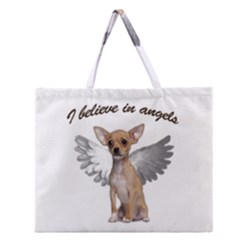Angel Chihuahua Zipper Large Tote Bag by Valentinaart