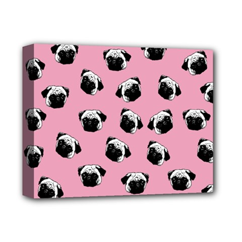 Pug Dog Pattern Deluxe Canvas 14  X 11  by Valentinaart