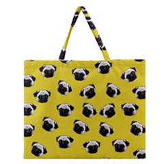 Pug Dog Pattern Zipper Large Tote Bag by Valentinaart