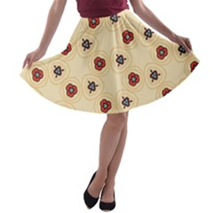Orange Flowers Pattern         A-line Skater Skirt by LalyLauraFLM