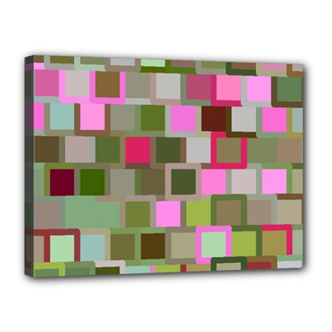 Color Square Tiles Random Effect Canvas 16  X 12  by Nexatart