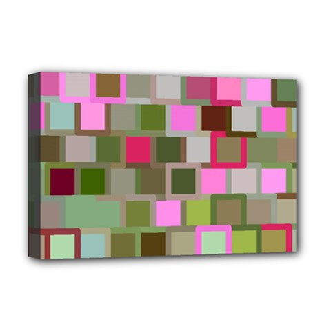 Color Square Tiles Random Effect Deluxe Canvas 18  X 12   by Nexatart
