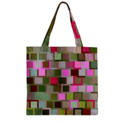 Color Square Tiles Random Effect Zipper Grocery Tote Bag by Nexatart