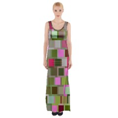 Color Square Tiles Random Effect Maxi Thigh Split Dress