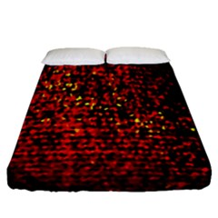 Red Particles Background Fitted Sheet (queen Size)