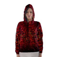 Red Particles Background Hooded Wind Breaker (women) by Nexatart