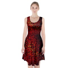 Red Particles Background Racerback Midi Dress