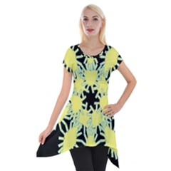 Yellow Snowflake Icon Graphic On Black Background Short Sleeve Side Drop Tunic by Nexatart