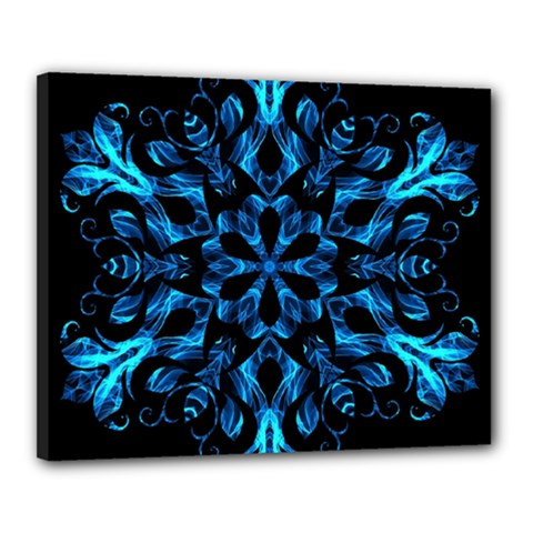 Blue Snowflake On Black Background Canvas 20  X 16