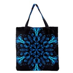 Blue Snowflake On Black Background Grocery Tote Bag