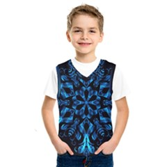 Blue Snowflake On Black Background Kids  Sportswear