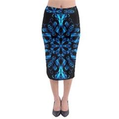 Blue Snowflake On Black Background Midi Pencil Skirt by Nexatart