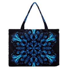 Blue Snowflake On Black Background Medium Zipper Tote Bag by Nexatart