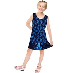 Blue Snowflake On Black Background Kids  Tunic Dress