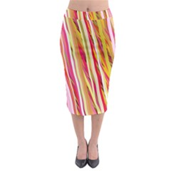 Color Ribbons Background Wallpaper Midi Pencil Skirt