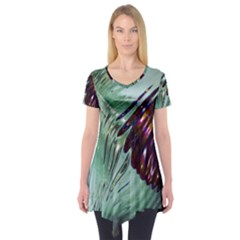 Out Of Time Glass Pearl Flowag Short Sleeve Tunic