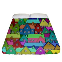 Neighborhood In Color Fitted Sheet (queen Size) by Nexatart